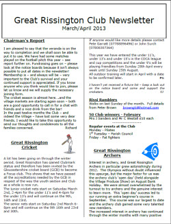 Great Rissington Club Newsletter Mar-April 2013