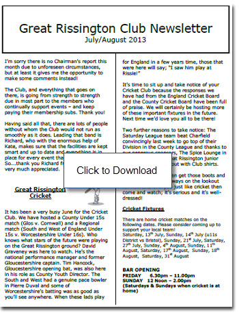 Gt Rissington Cllub Newsletter July/August 2013
