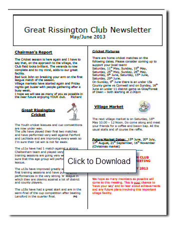 Club News Letter May/June 2013