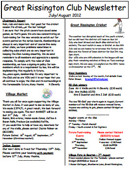 Great Rissington Club Newsletter July-Aug 2012